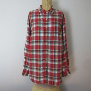Ralph Lauren Red Plaid Linen Long Sleeve Shirt 1X